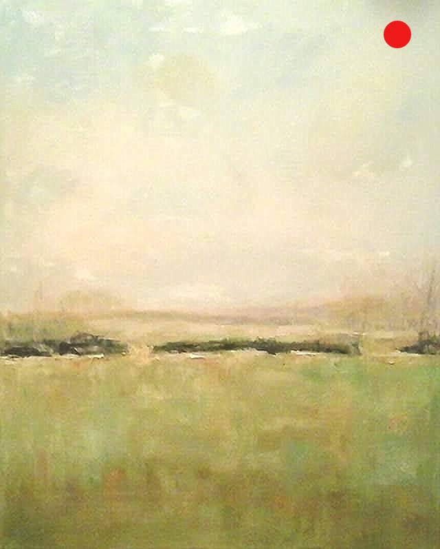 """50 Shades of Spring - 20"""" x 16"""" x 1.5""""D Oil on canvas in natural finish floater frame"""