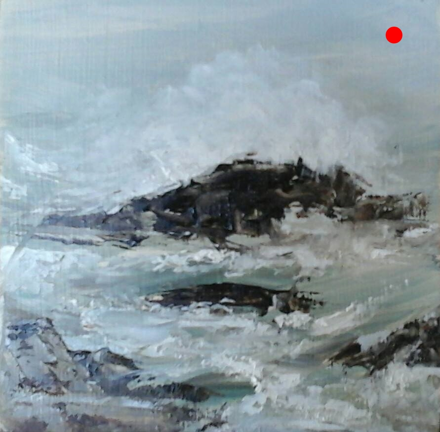 "Copy of Copy of Breaking Waves - Rye Beach, NH,  4"" x 4"" x 1""D Oil on cradled wood panel"
