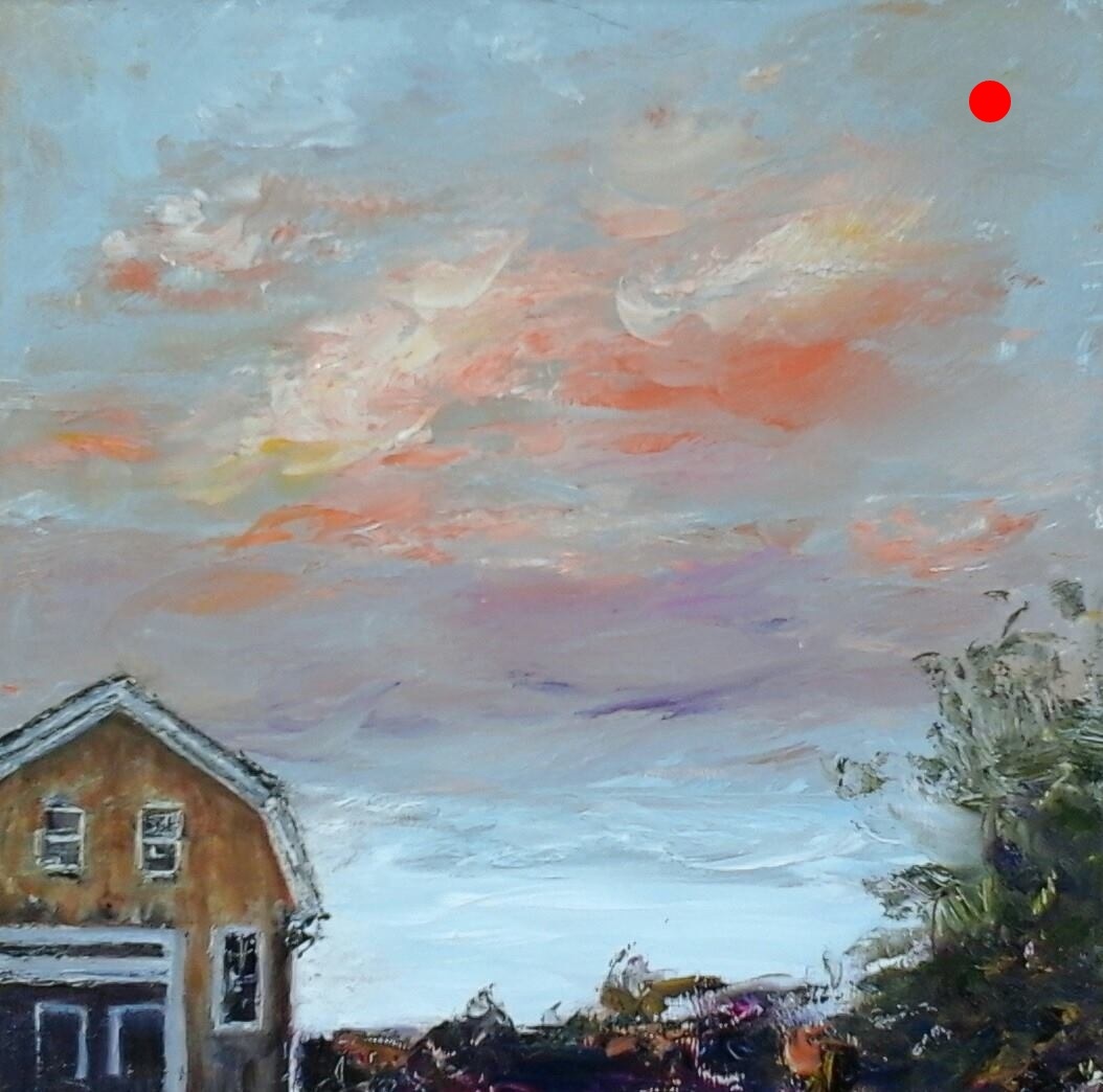 "Copy of Copy of Sunset Over Nicol's Farm - Newton, NH, 6"" x 6"" Oil on panel in 3.25""W black frame"