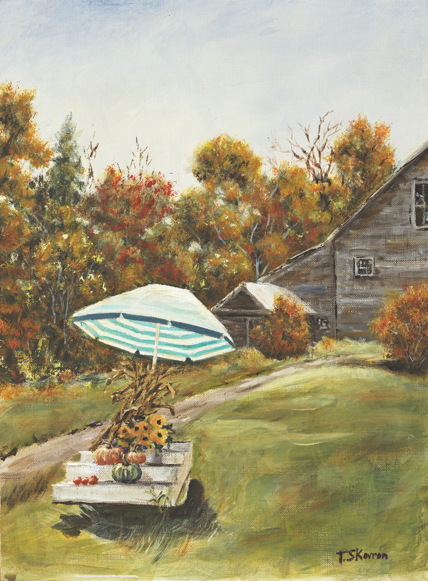 "Copy of Copy of Roadside Farm Stand - Kensington, NH, 9"" x 12""  Acrylic on canvas panel in 3.5""W black frame"