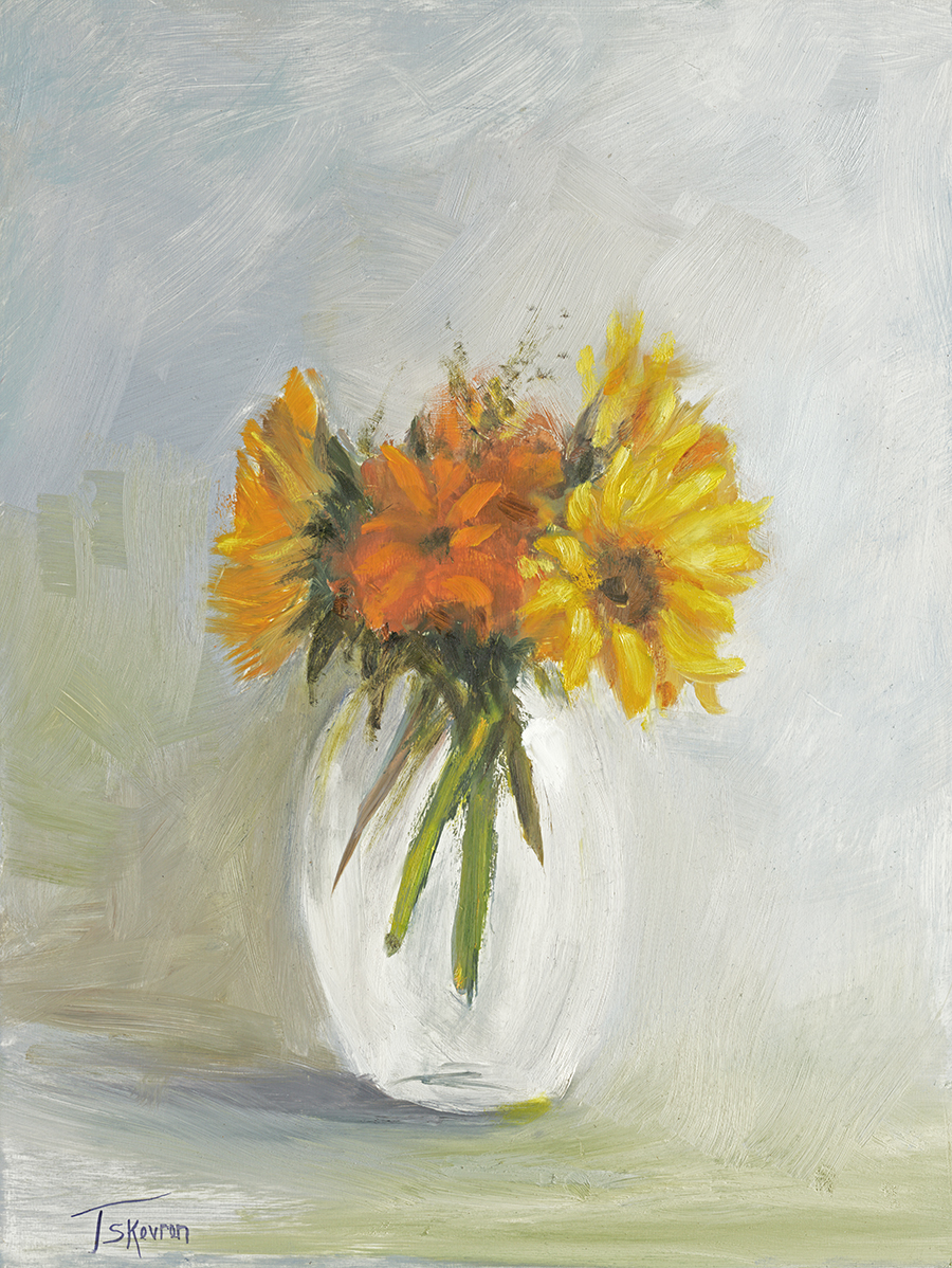 "Sunflowers in Glass Vase - 12 x 16 x 1.5""D oil on panel in natural finish floater frame"
