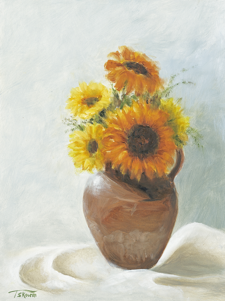 "Sunflowers In Terracotta Jug - 12 x 16 x 1.5""D oil on panel in natural finish floater frame"