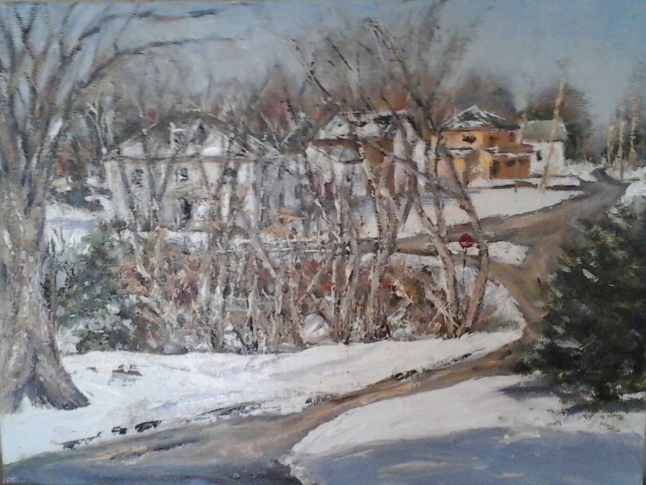 """""""First Snowfall"""" View from my kitchen window of Rowe's Corner, Newton, NH  9""""x 12"""" oil on panel in 4""""W black with ant. gold liner frame  Available at Newburyport Art Association, 65 Water St., Newburyport, MA, 978-465-8769"""