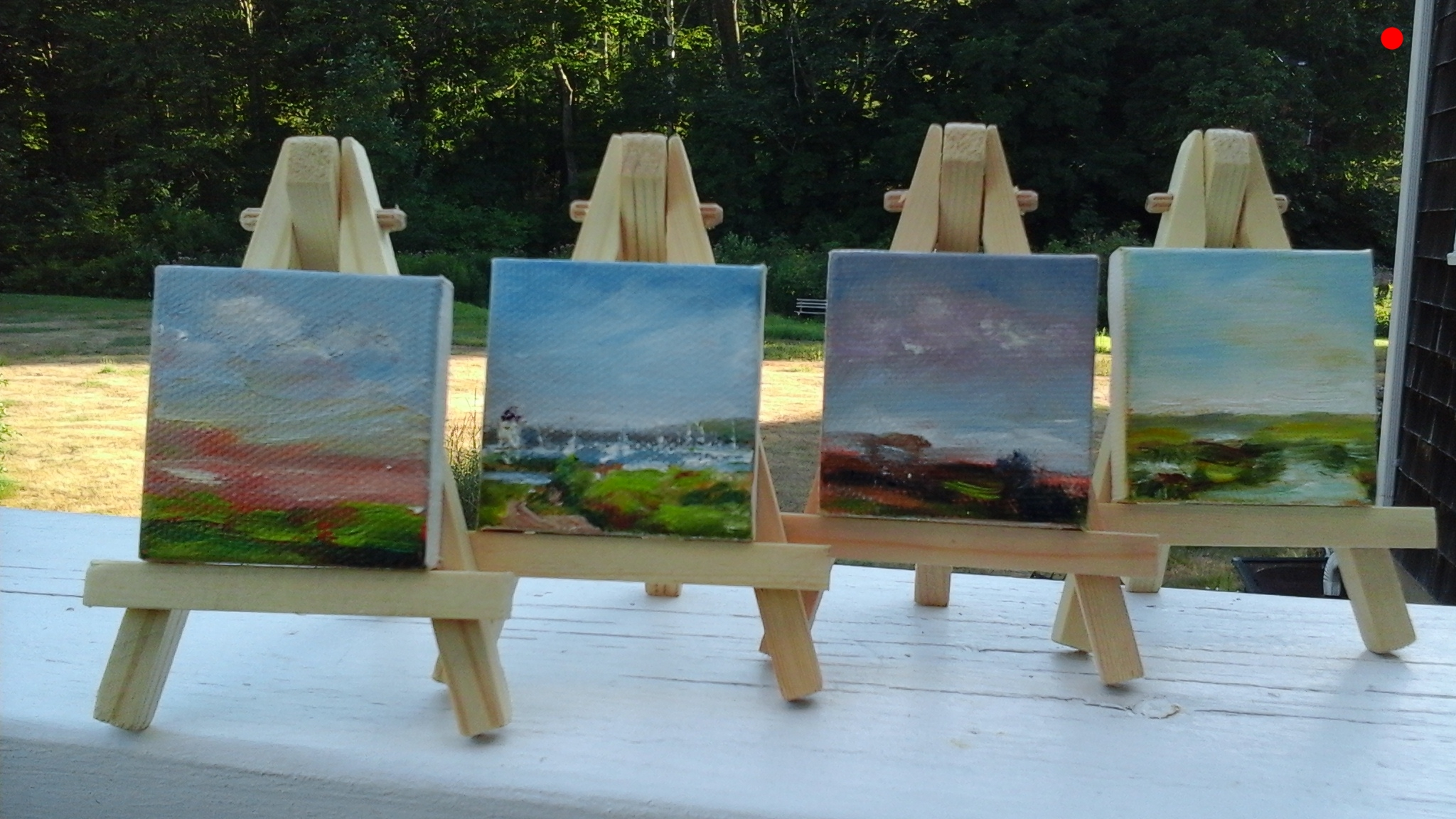 "Copy of Copy of Micro Minis - 2"" x 2"" Oil on canvas with easel.  L to R, Eureka (Sold), Prose (Sold), Heal (Sold), The Big Picture (sold)"