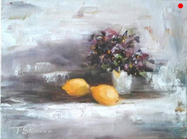 Violets and Lemons - 6 x 8 oil on canvas panel in black frame