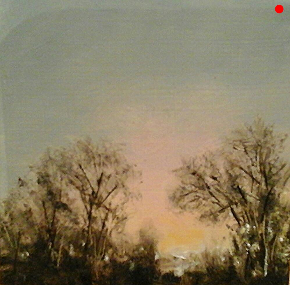 "Copy of Copy of Sunset From Back Yard - 4"" x 4"" x 1""D  Oil on cradled wood panel"