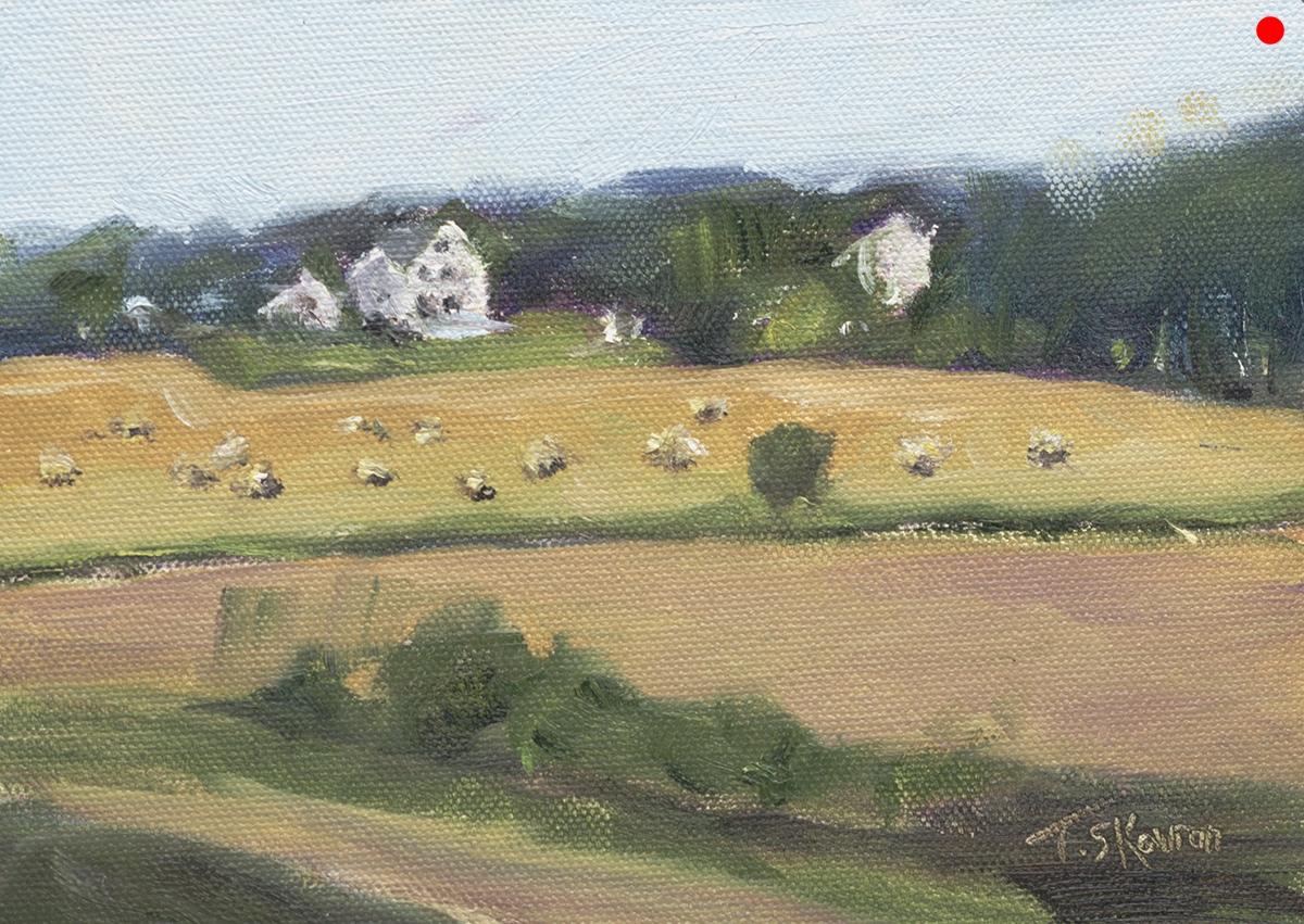 "Hay Baling - Bartlett's Farm, Salisbury, MA, 5x7"" oil on canvas panel"