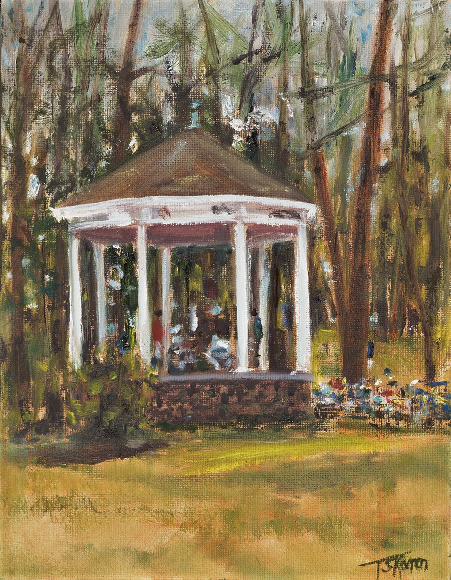 """Bandstand In The Pines, Amesbury, MA - 7""""x 9"""" oil on canvas panel in black wood floater frame"""