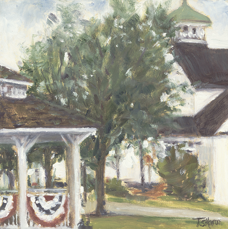 """Decked Out For Amesbury Days, Main St, Amesbury, MA - 6x6"""" oil on cradled panel"""