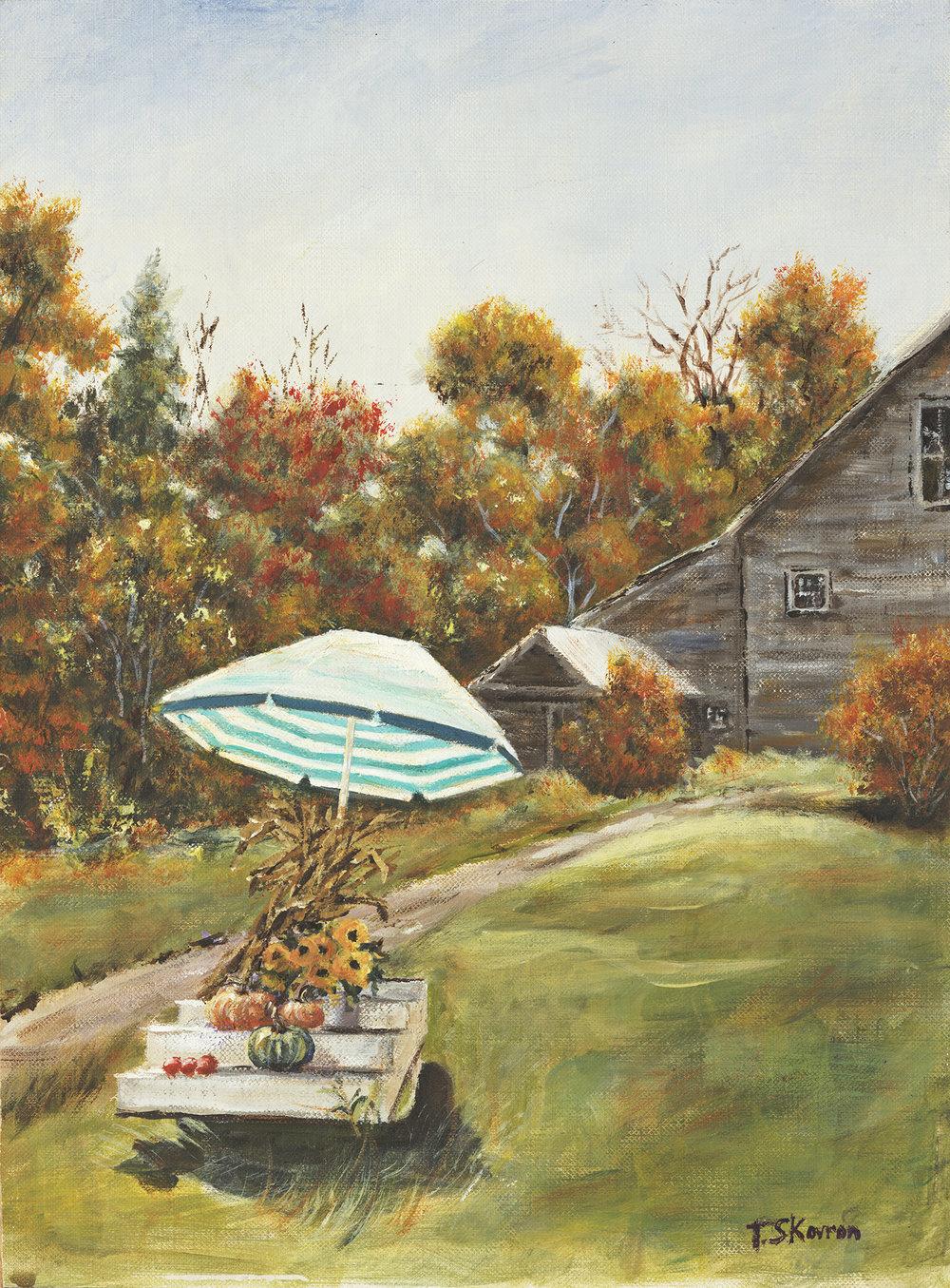 "Roadside Farm Stand - Kensington, NH, 9"" x 12""  Acrylic on canvas panel in 3.5""W black frame"