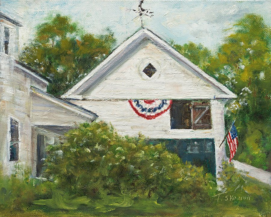 """Ye Old Barn Dressed In Her Very Finest - Newton, NH, 8"""" x 10"""" Oil on canvas panel in 3.25""""W black frame."""