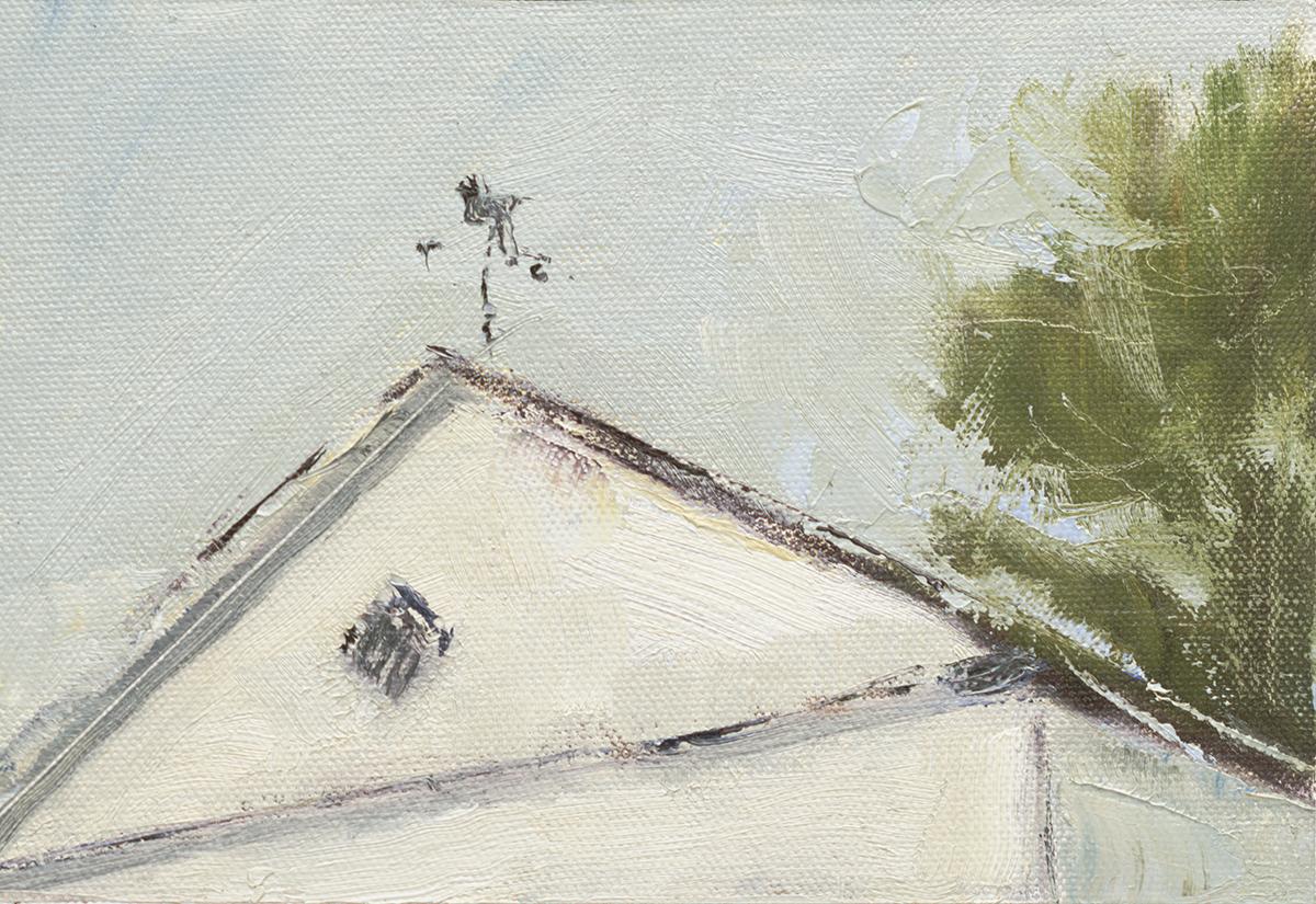 "Come Rain Or Shine - 5"" x 7"" oil on canvas panel in 2.5""W black frame"