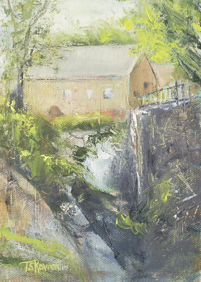 "Powow River Upper Falls - Amesbury, MA, 5"" x 7"" oil on canvas panel in 2.5""W black frame"