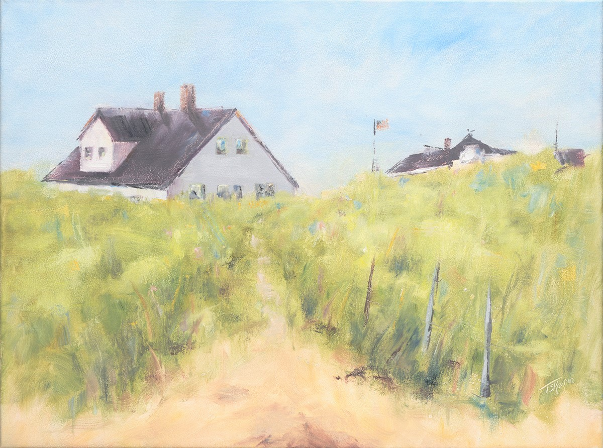 """Here Comes The Sun - Salisbury, MA, Seabrook, NH line, 18"""" x 24"""" oil on stretched canvas in natural finished floater frame"""