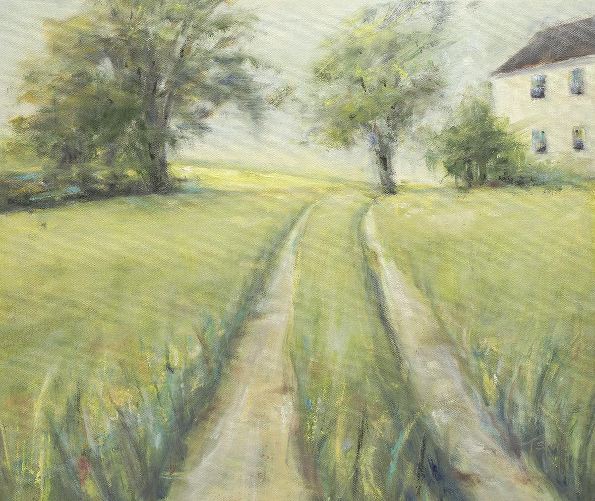 """New Dawn - West Newbury, MA, 17"""" x 20"""" oil on canvas panel in 1""""W black frame"""