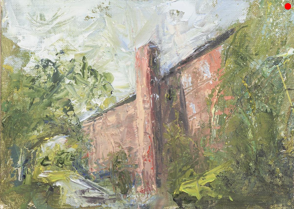 "Upper Millyard - Amesbury, MA, oil on canvas panel in 2.5""W black frame"