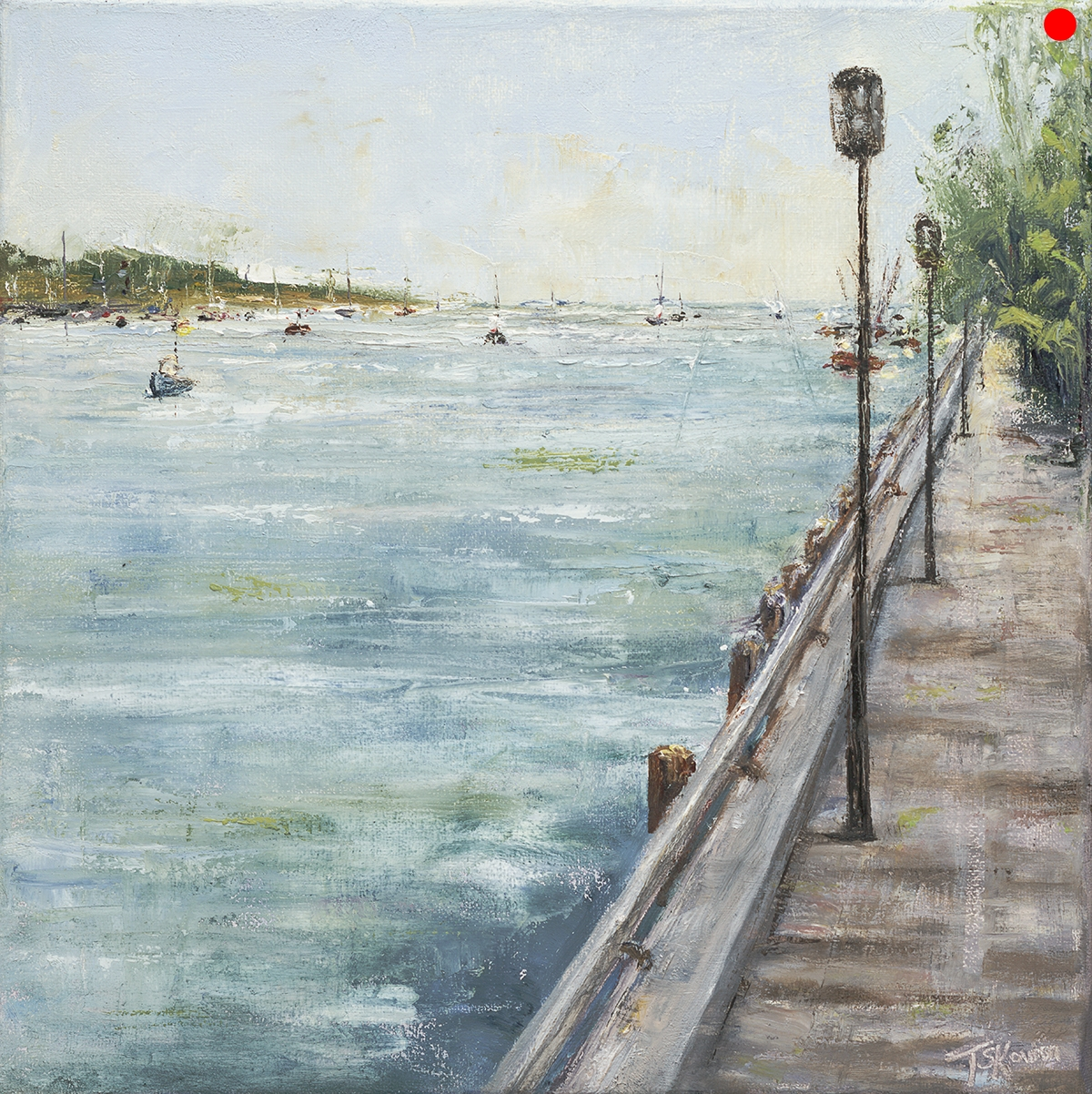 """Anticipation I - Diptych Newburyport, MA, 12 x 12 x 1.5""""D oil on stretched canvas in silver finish floater frame"""