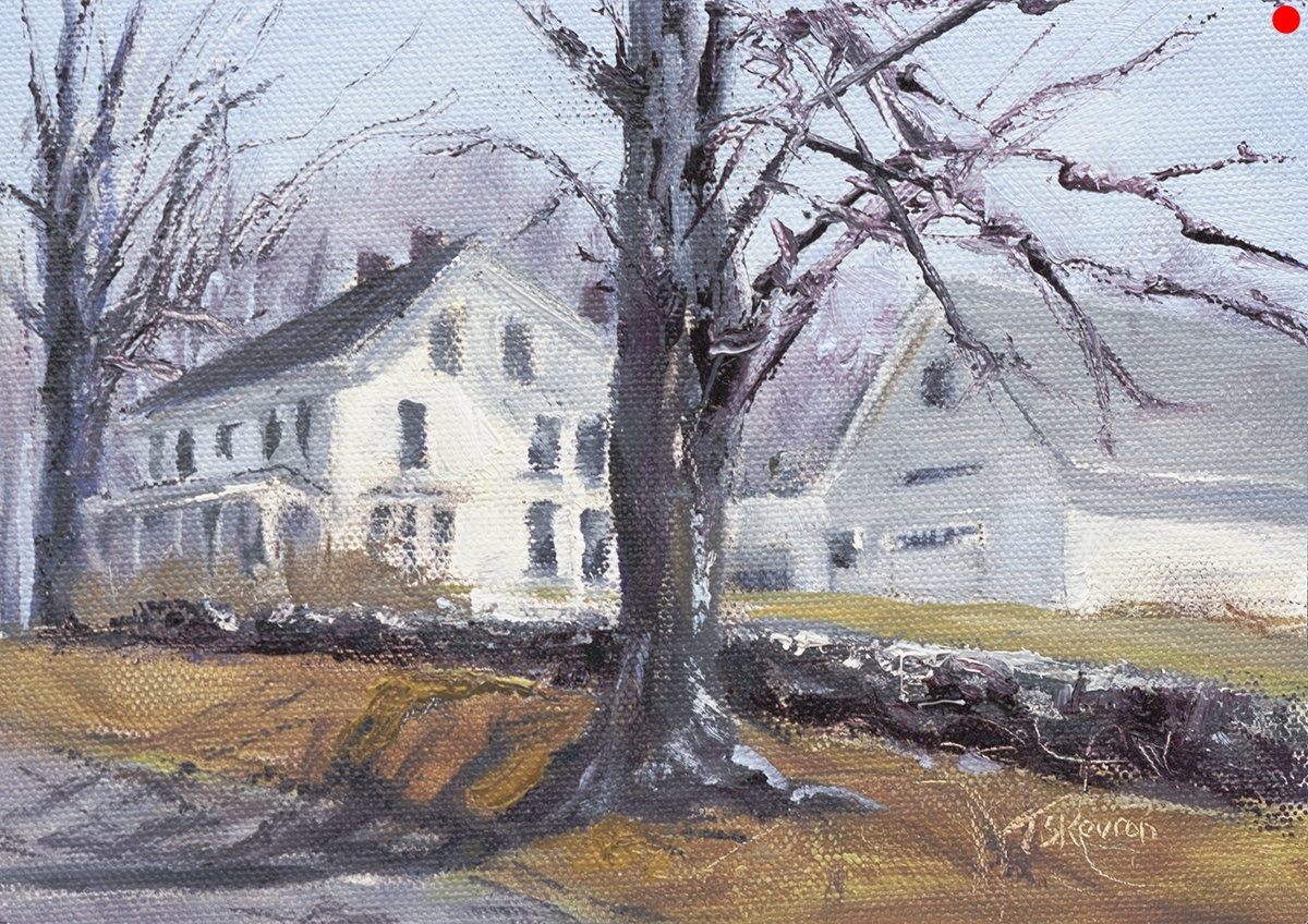 "Last Leaf - 5 x 7"" oil on canvas in 2.5""W black frame"