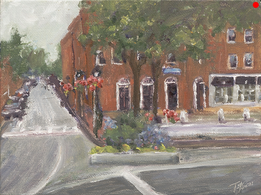 """Market Square - Newburyport, MA, 6"""" x 8"""" oil on canvas board in gold finished floater frame"""