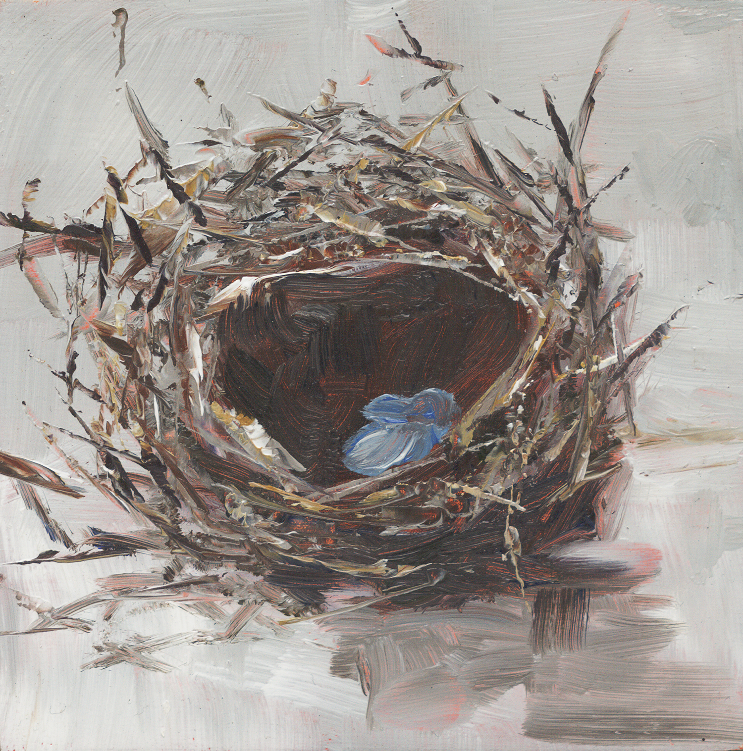 "Nesting Eggs - 4"" x 4"" x 1""D oil on cradled panel"