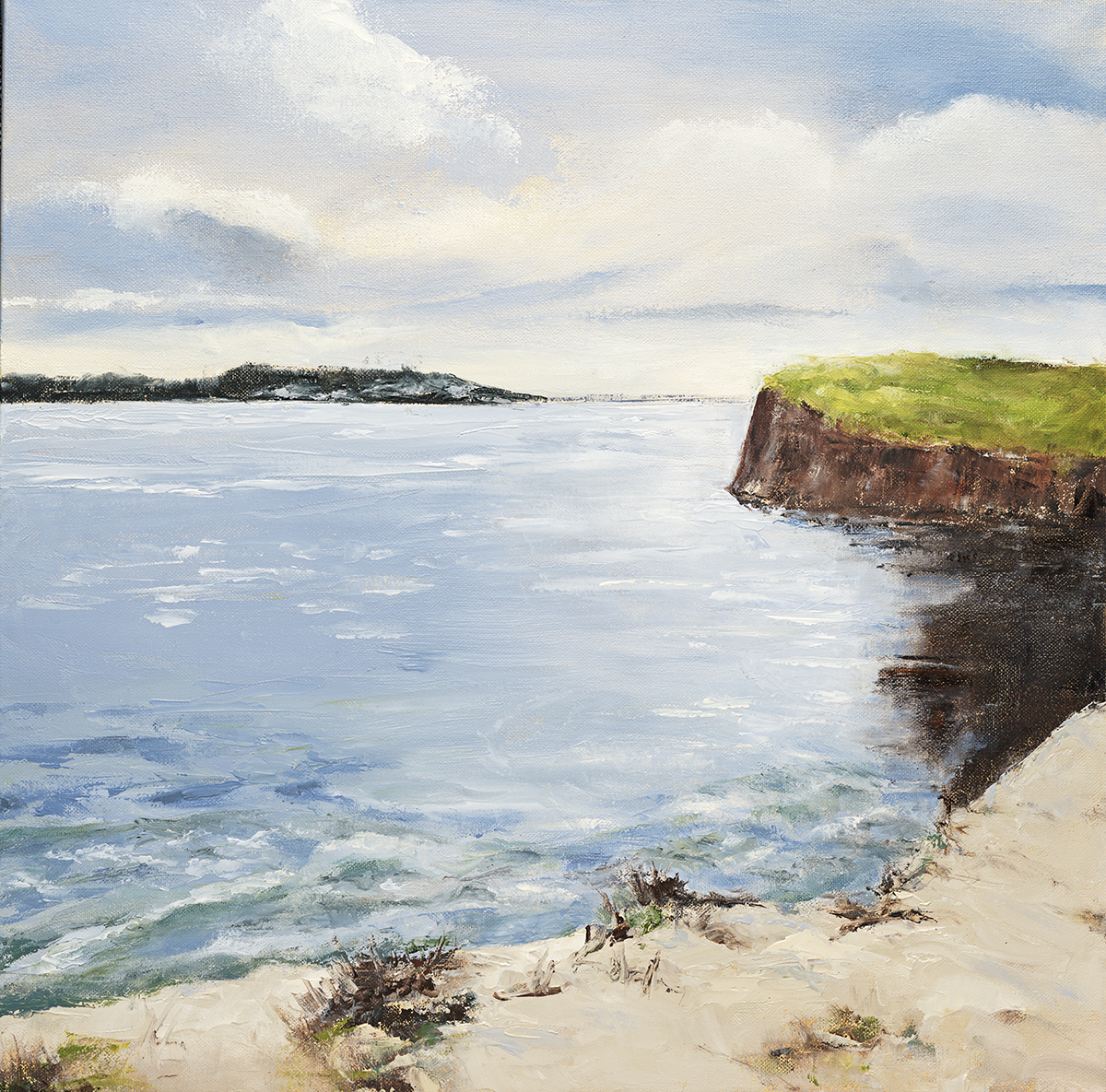 "Tide Rising - Plum Island, Newburyport, MA  20"" x 20"" oil on stretched canvas"