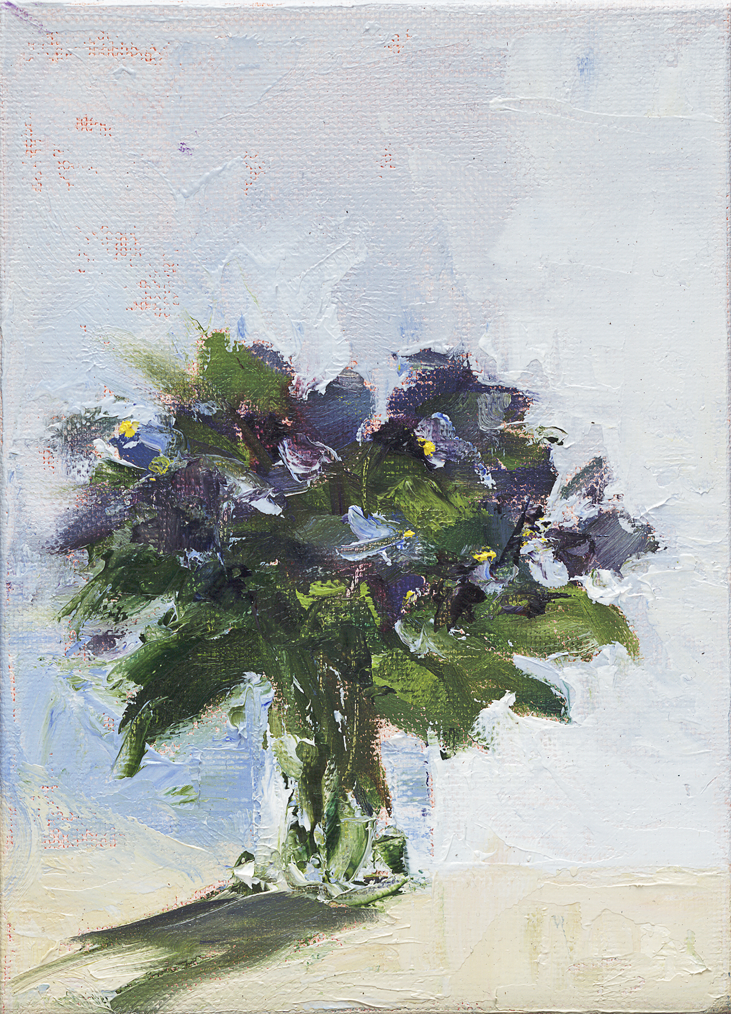 "Blue Violets - 5"" x 7"" x .75"" oil on wrapped canvas"