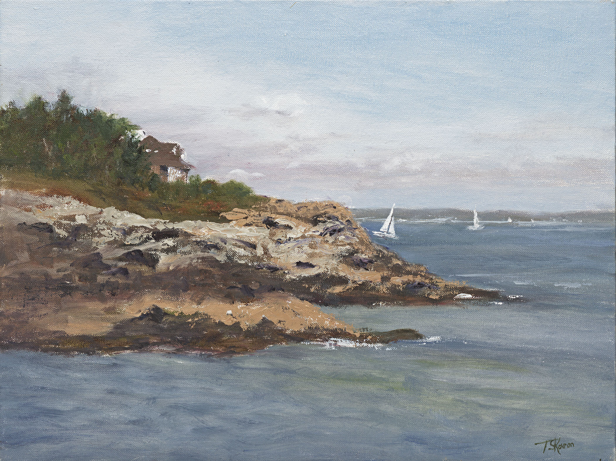 """""""Elm Tree Cove"""" Peaks Island, Maine, 16"""" x 12"""" oil on canvas panel in 3.5""""W gold leaf frame."""