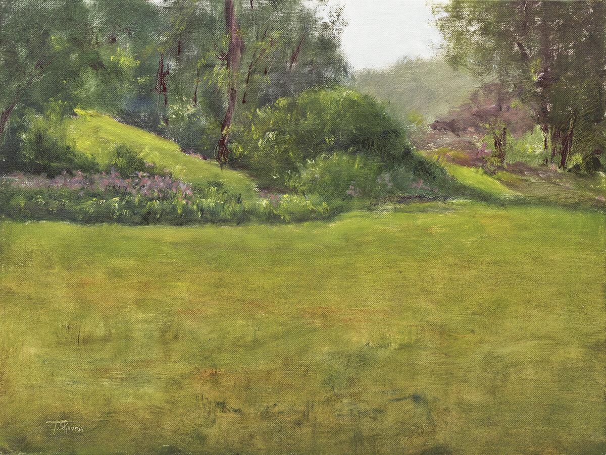 """Backyard""  Newton, NH - 16"" x 12"" oil on canvas panel in 3.5""W gold leaf frame"