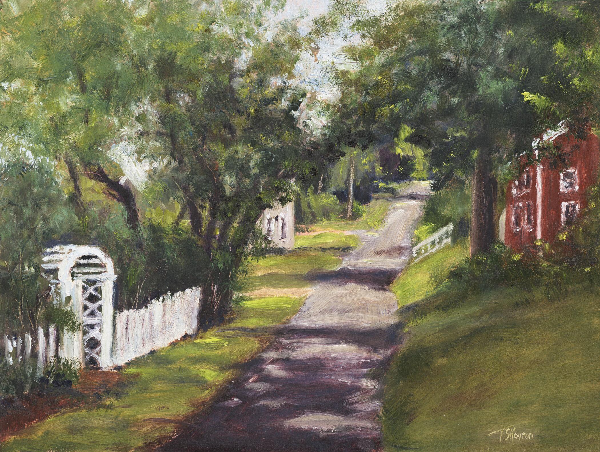 """Wharf Lane"" Rocks Village, Haverhill, MA - 12"" x 9"" oil on panel in 3.5""W gold leaf frame"
