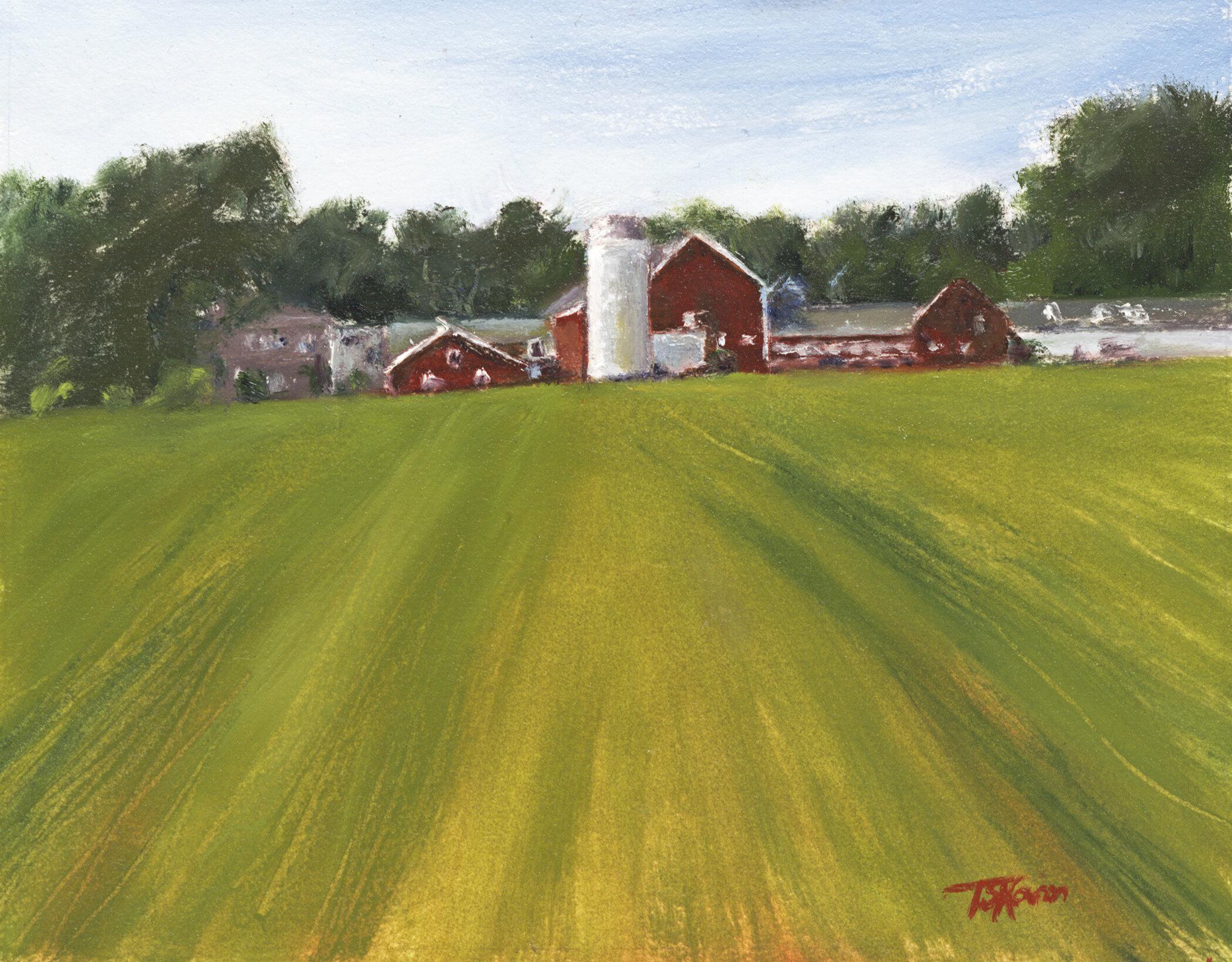 """Starlite Farm"" So. Hampton, NH - 10"" x 8"" oil on paper in 3.5""W black with gold liner frame"
