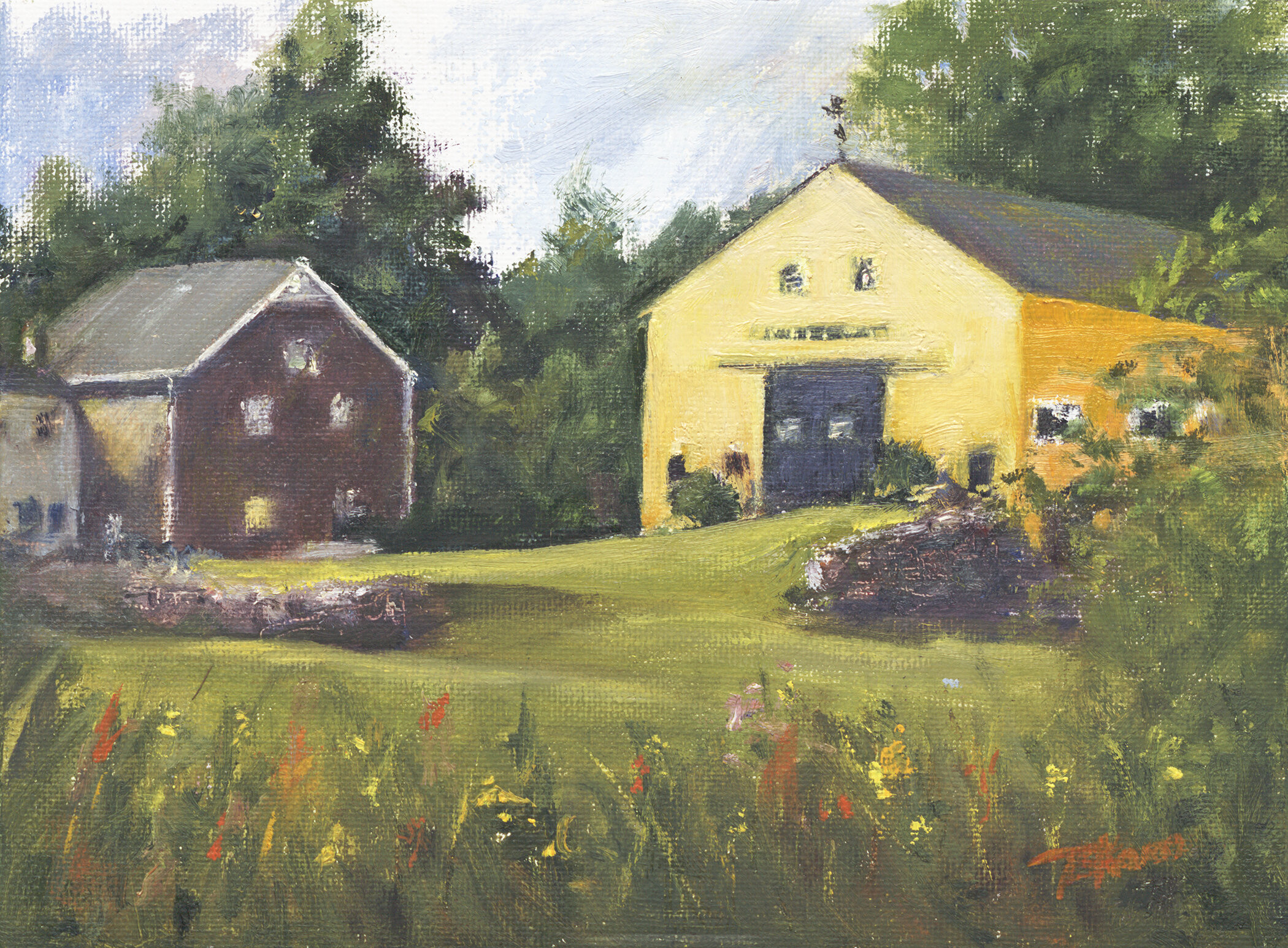 """""""Soaring Hawk Farm""""  So. Hampton, NH - 8"""" x 6"""" oil on canvas panel in 3.5""""W black with gold liner frame."""