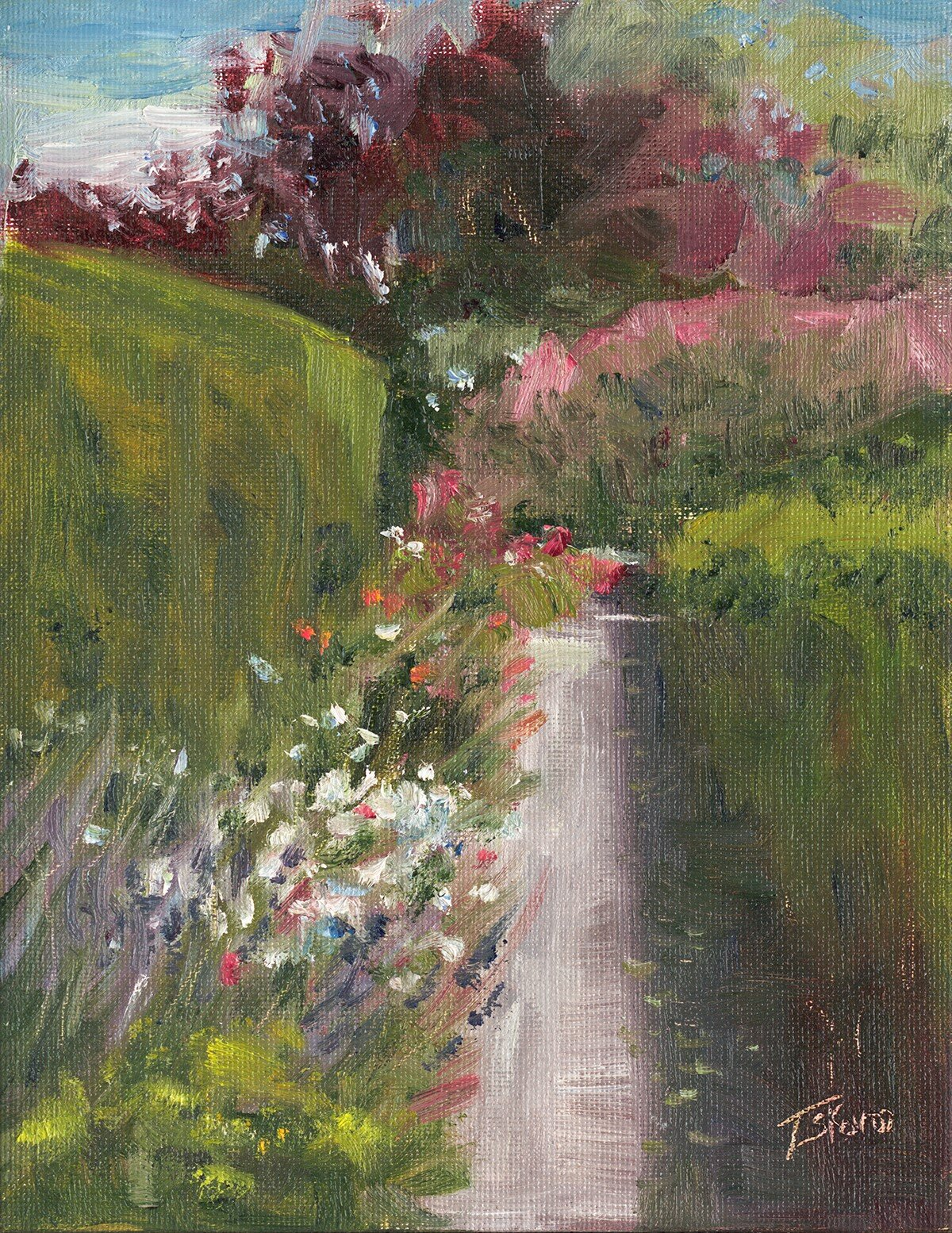 """""""Perennial Path""""  Fuller Gardens, No. Hampton, NH - 9"""" x 7"""" oil on canvas panel in natural finished floater frame"""