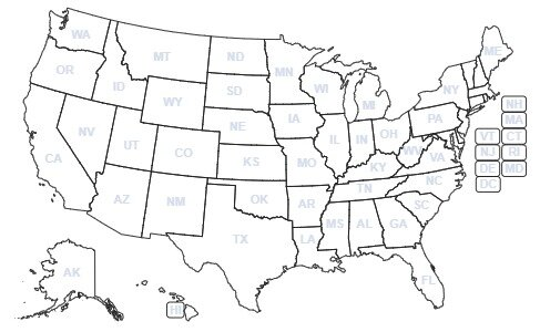 States With To-Go/Delivery Cocktail Laws pre-COVID