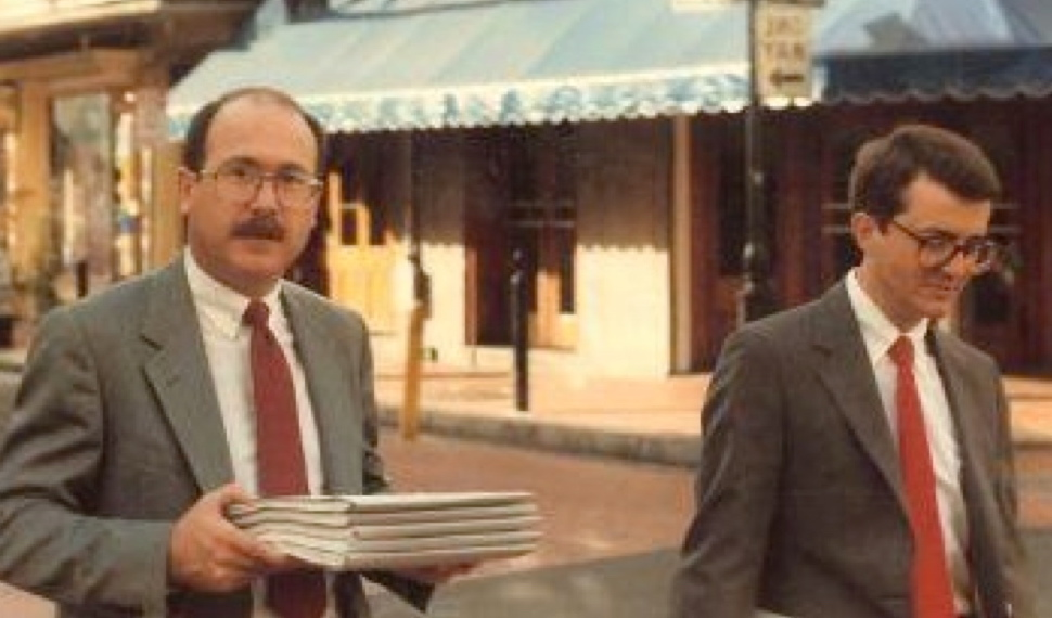 Don Baker (left) and Dick Peeples (right) heading for the hearing before the Fifth Circuit Court of Appeals in New Orleans.
