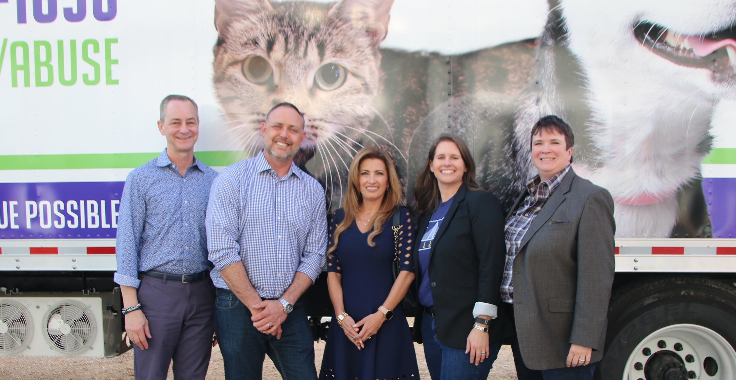 Left to right:  Steve Atkinson, Brian Walker, County Commissioner Elba Garcia, Betsy Orton, Sharon Fancher at the unveiling of the SPCA Mobile Rescue Unit funded by the Gay and Lesbian Fund for Dallas.