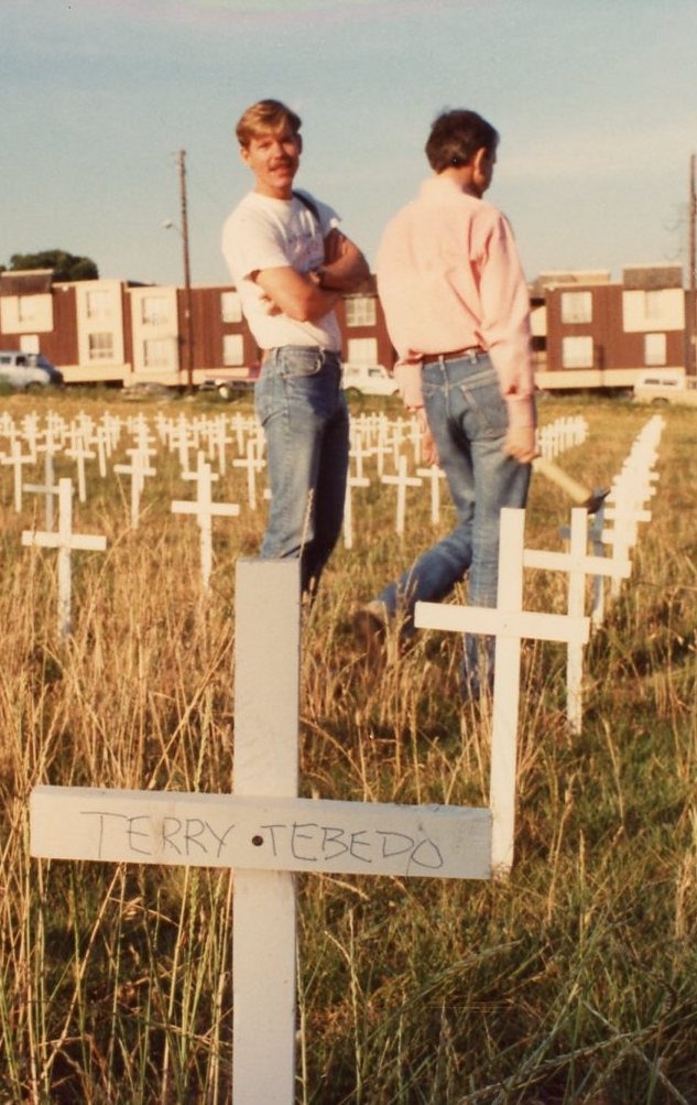 """Bruce Monroe and William Waybourn in the """"Potters' Field"""" of AIDS in Dallas"""