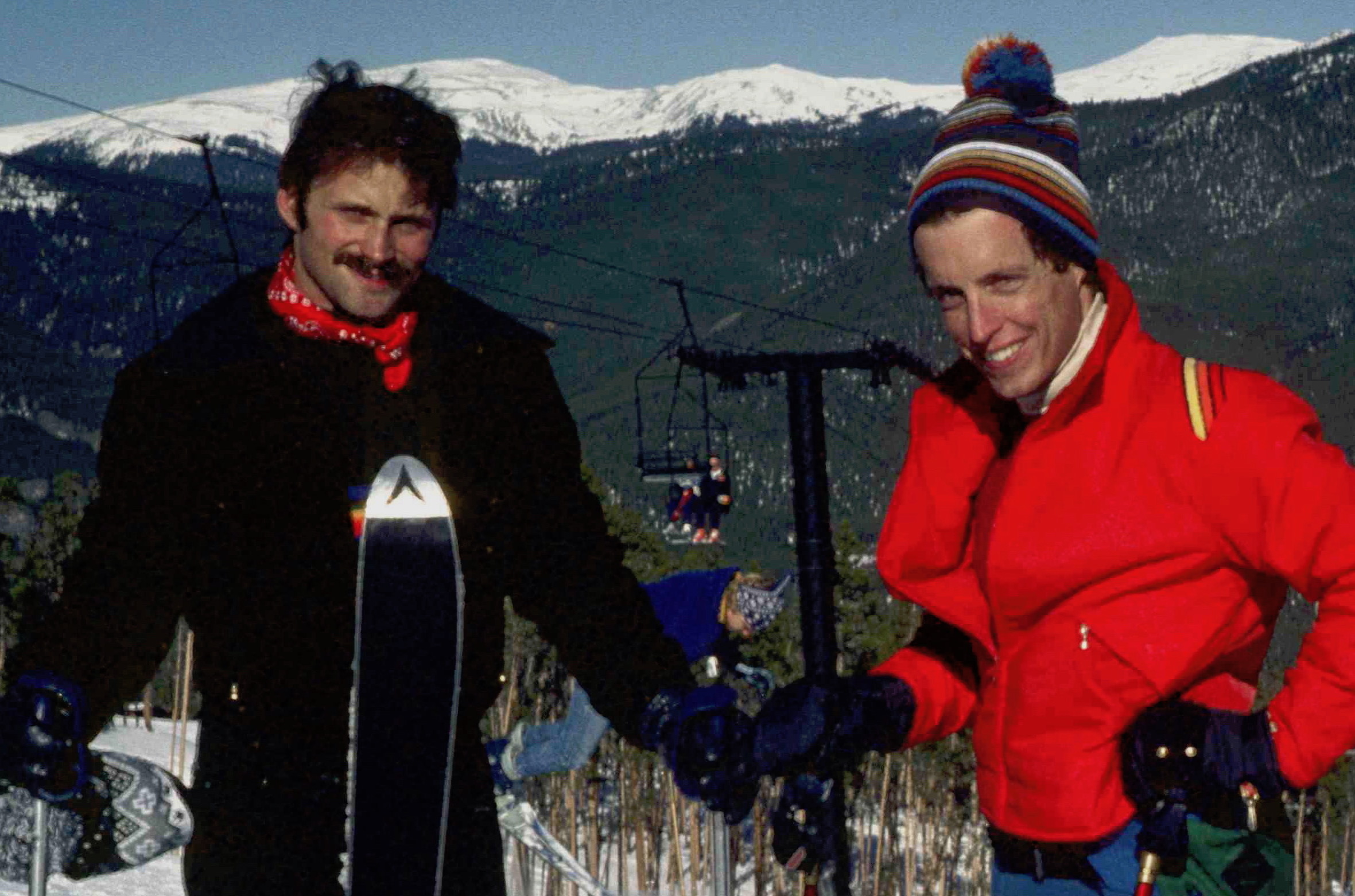 Terry Tebedo and Mike Anglin skiing in Colorado in December 1980