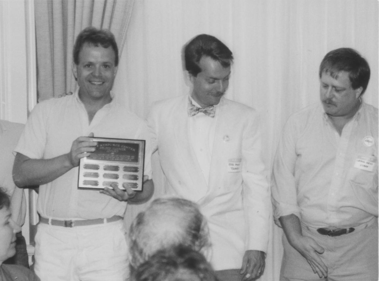 Tim York (left), the builder of the new AIDS Food Pantry in 1988, receiving recognition at the annual AIDS Resource Center's Volunteers Recognition dinner.  Also in photo:  Bill Hunt (center) and Craig Hess (right).