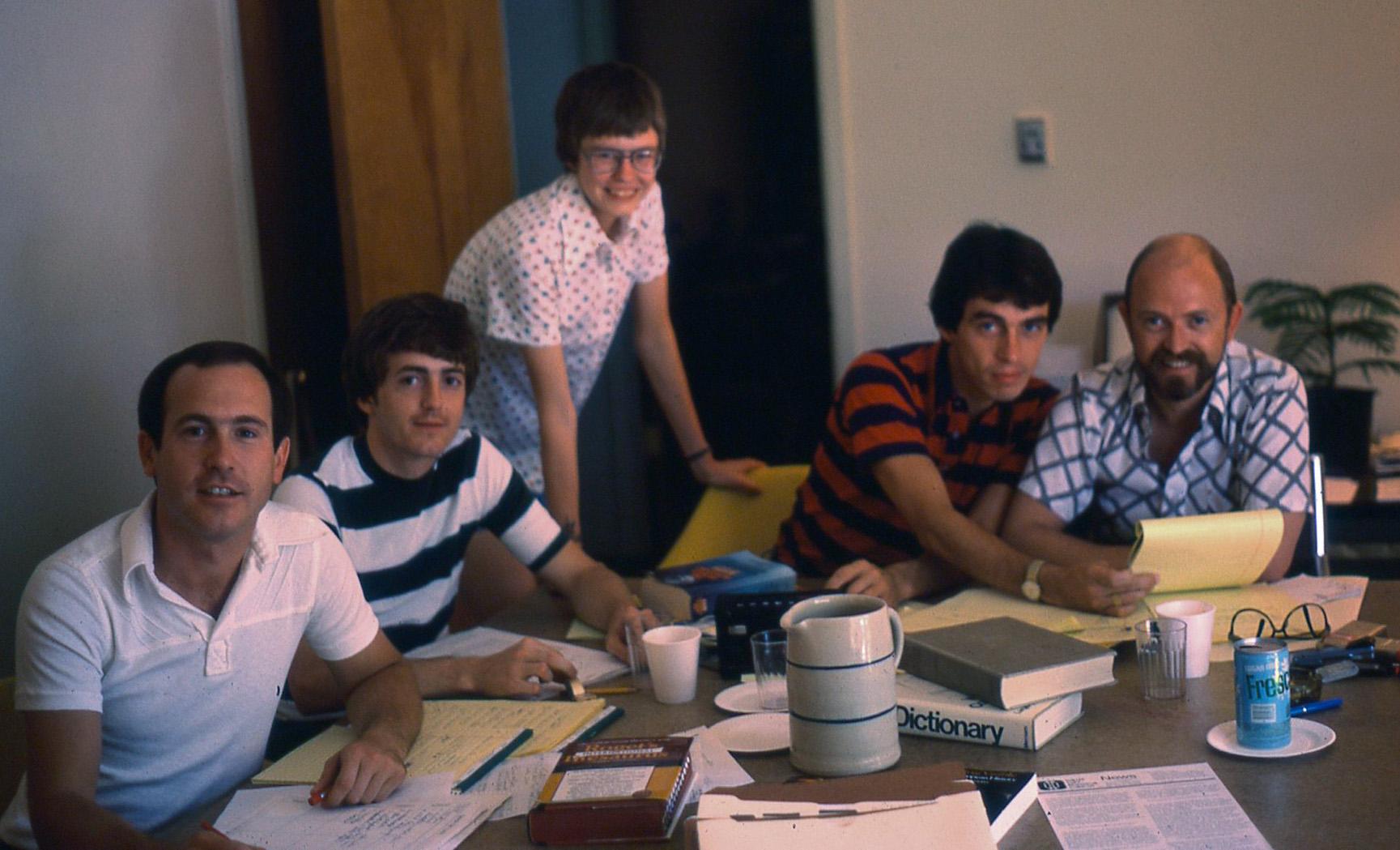 DGPC Retreat 1977: Don Baker, Dick Peeples, Louise Young, Steve Wilkins, Jerry Ward