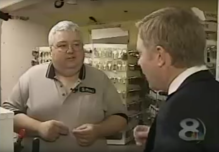 Certified Master Locksmith Austin Curry, of Benny's Key Shop featured on WFLA Channel 8  Eight On Your Side .