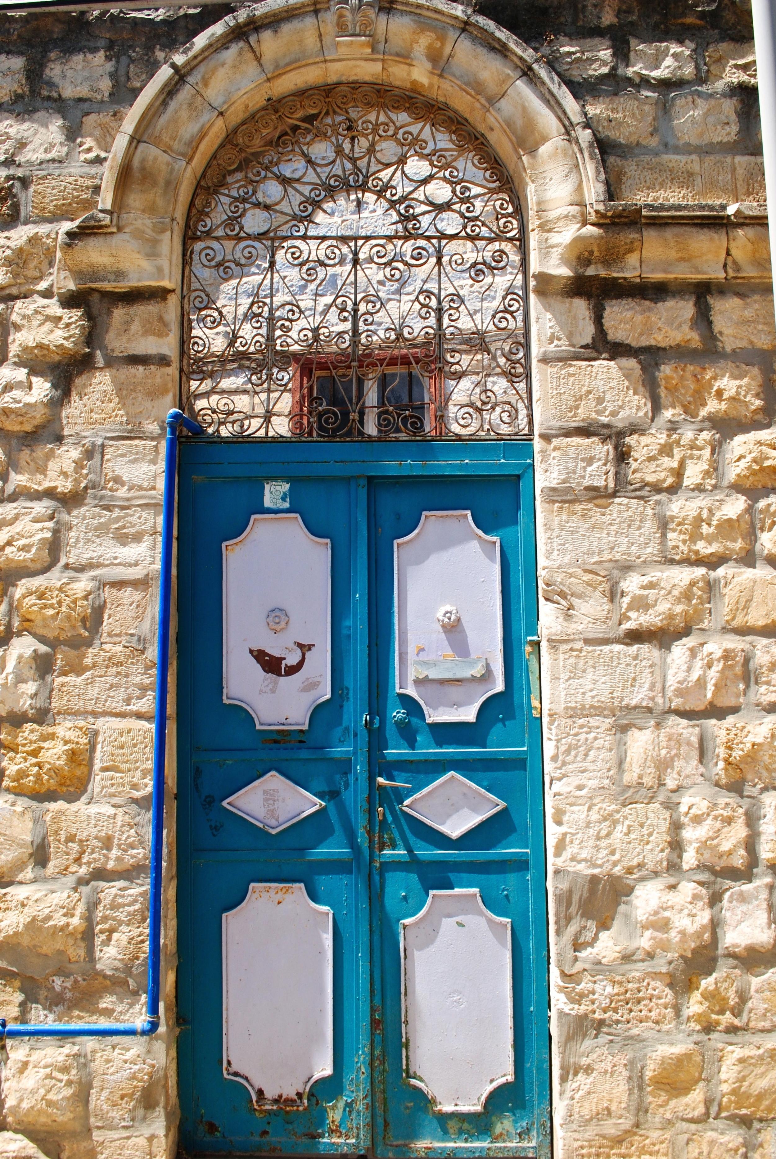 Turquoise Tsfat Door , Tsaft Israel, August 2015