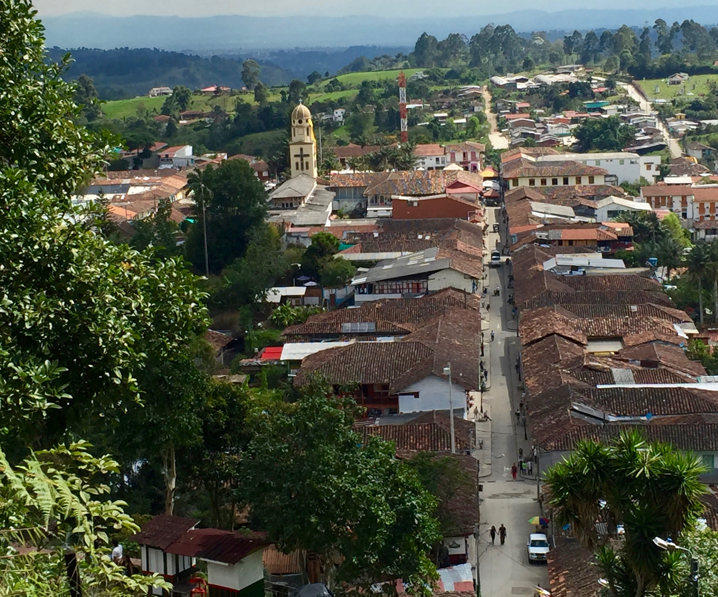 View of Salento, Colombia, from the top of the stairs that lead to a view of the city. (Photo: Jim Intriglia)