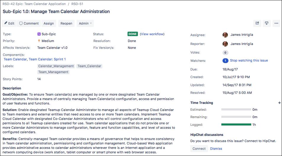 Sub-Epic 1.0 RSD-51: Manage Team Calendar Administration