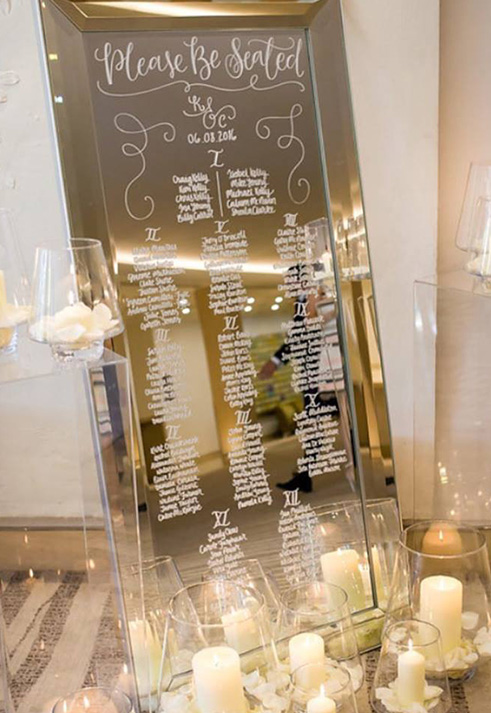 Mirror table plan for a wedding