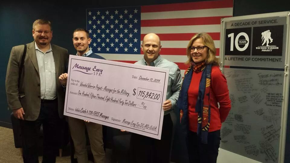 "While with LevLane: Presenting check to Wounded Warriors in Washington, DC on behalf of Massage Envy Spas' ""Massages for Military"" event"