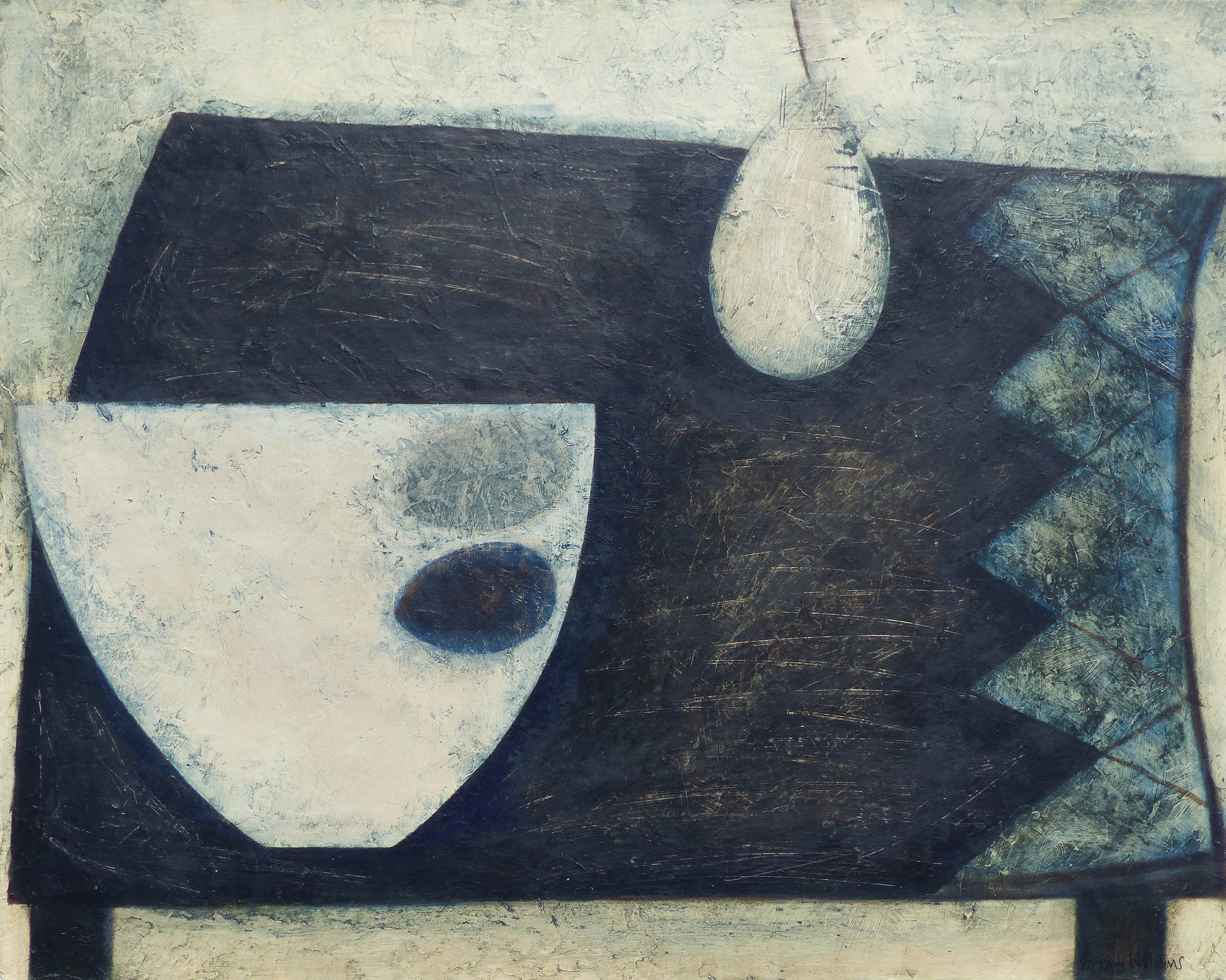 Dark Table with Pear, Bowl and Eggs, 41cm x 51cm, 2015
