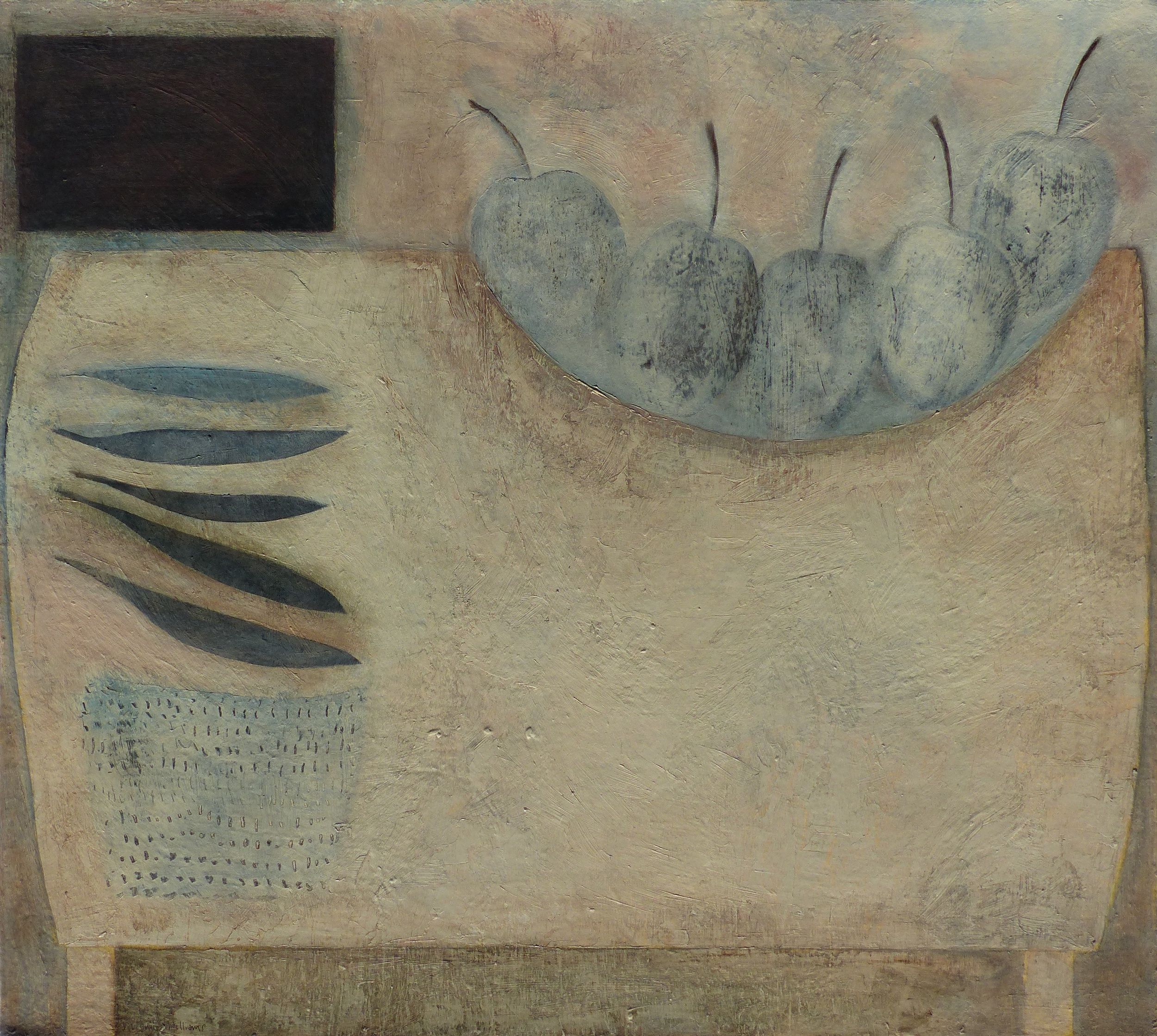 Still Life with Apples and Beans, 56.5cm x 63cm, 2016