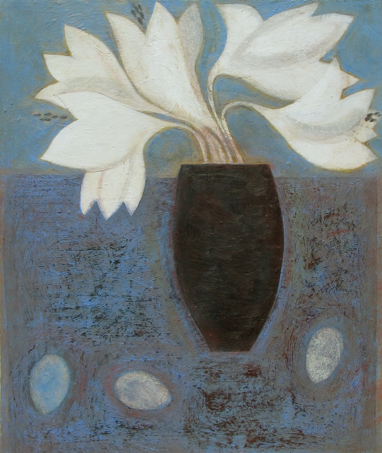 Lilies with Eggs, 54cm x 45.5cm, 2011