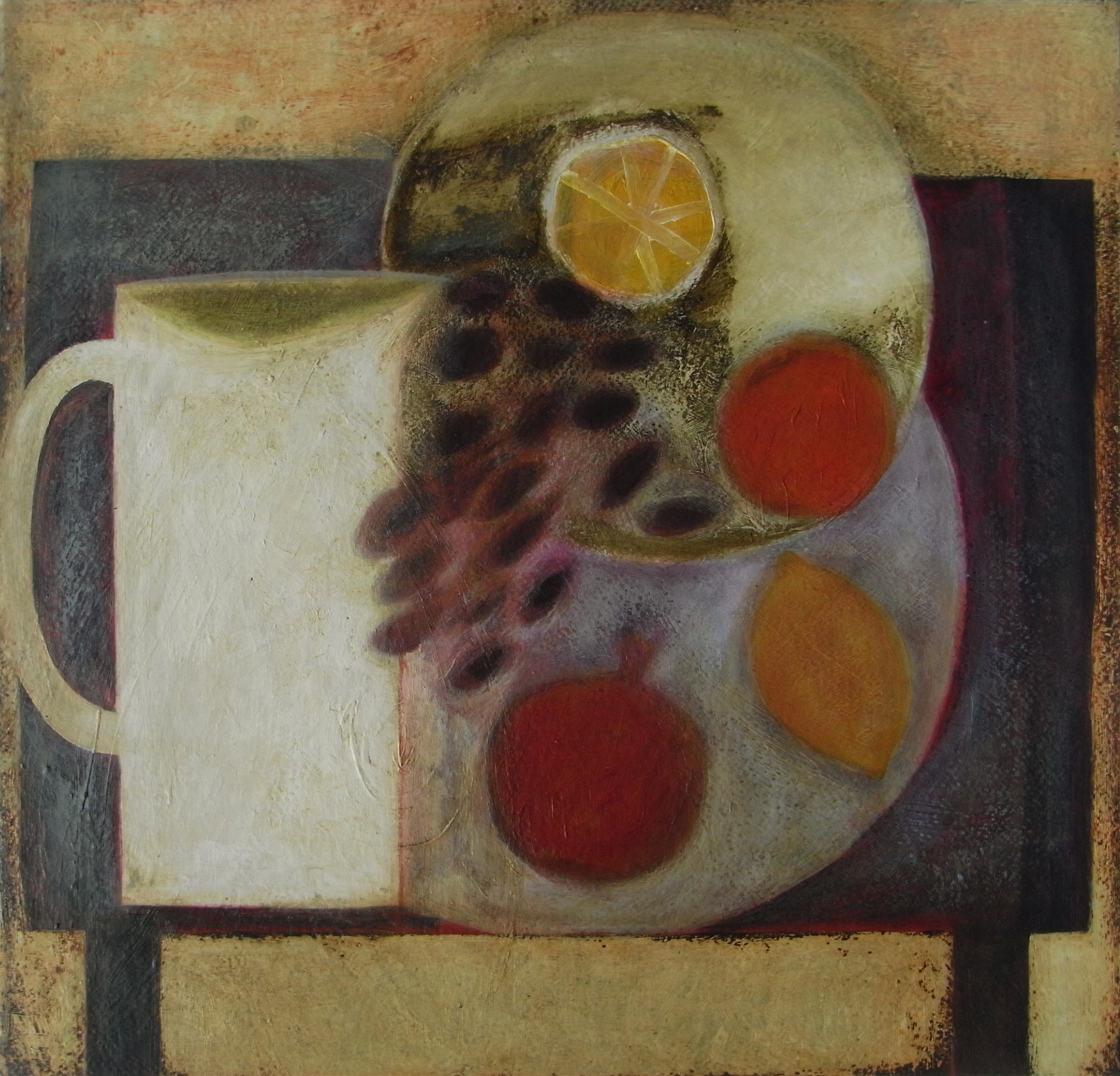 Table with Jug and Fruit Plate, 45cm x 47cm, 2010