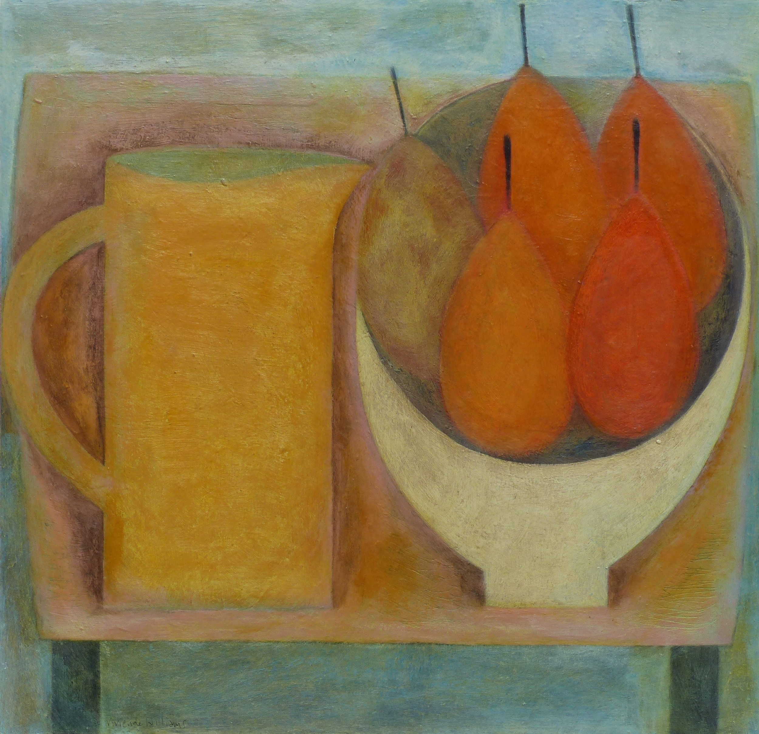 Pink Table, Yellow Jug and Pears, 40.5cm x 42cm, 2015